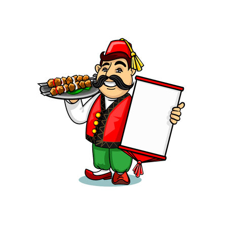 Turkish cuisine icon. Turk chef cook in national clothing holding menu card template and shashlik kebab on dish. Vector emblem for restaurant signboard, menu, decoration