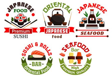 oriental cuisine: Oriental Japanese food restaurant icons. Sushi, rolls, seafood, salmon, sashimi, wasabi, steamed rice, bamboo, chopsticks, tea Oriental cuisine poster for menu card signboard leaflet flyer