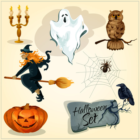 sinister: Funny creepy decoration elements set for Halloween. Vector isolated symbols of smiling sinister pumpkin, flying witch on magic broom, scary ghost, crying owl, spider web, black crow on grave stone Illustration