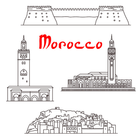 sightseeings: Historic landmarks, sightseeings and buildings of Morocco. Vector thin line icons of Koutoubia Mosque, Ait Ben Haddou, Hassan II Mosque, Agadir Kasbah fortress for souvenir decoration