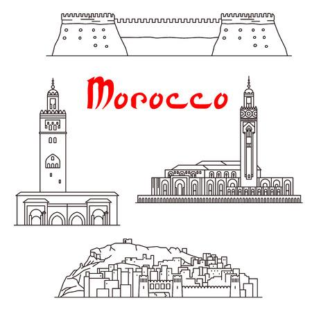 歴史的建造物、施設や観光地、モロッコの建物。クトゥビーヤ ・ モスク、アイットベン、ハッサン 2 世モスク、アガディール Kasbah 要塞お土産の装飾のためのベクトルの細い線のアイコン
