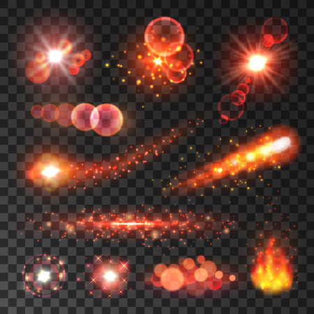 light trail: Glittering red light trails of comets and shooting stars. Glowing fire flames. Twinkling sparkler flashes on transparent background Illustration