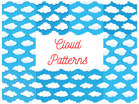 Cartoon Cumulus Clouds In Blue Sky Seamless Pattern Backgrounds