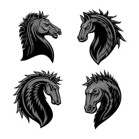furious: Raging stallion head with thorny prickly mane. Stylized heraldic icons of furious horse. Mustang emblem symbol for sport club, team badge, label, tattoo