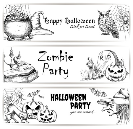 sketched icons: Halloween vector pencil sketch decoration elements. Sketched icons of scary witch in hat, bubbling potion in cauldron, coffin and tomb with zombie hand, creepy pumpkins, black cats. Halloween party decoration banners design
