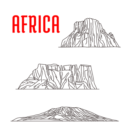 waterfall in the city: Historic landmarks, sightseeings, famous showplaces of Africa. Vector thin line icons of Mount Kilimanjaro, Tirel Waterfall, Drakensberg for souvenir decoration elements