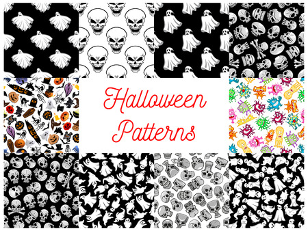 phantom: Halloween seamless pattern backgrounds with cartoon scary characters and elements. Wallpaper icons of ghost, skull, bat, spider, cemetery, monster, phantom, grave, candle, skeleton, coffin, witch, tomb devil crossbones pumpkin black cat Illustration