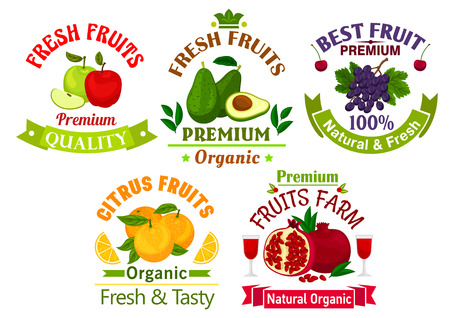 juice bottle: Best fresh juicy fruits. Vector icons of apple, avocado, grape, cherry, orange, pomegranate for juice bottle sticker, grocery, farm store label, packaging and advertising tag, ribbons Illustration