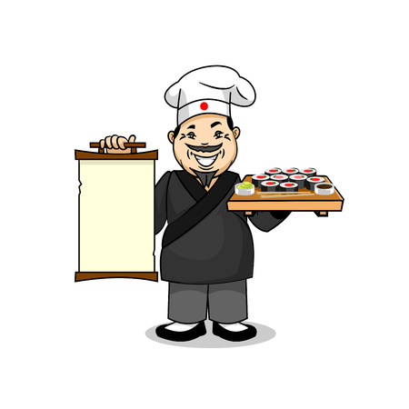 vendors: Japanese cuisine icon. Smiling japanese chef cook in national clothing kimono holding menu card template and sushi with wasabi, chopsticks. Vector emblem for restaurant signboard, menu, welcome decoration