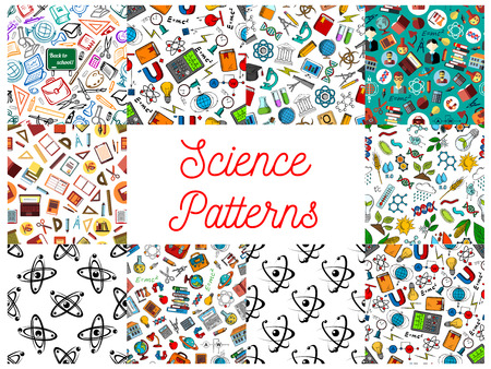 scientifical: Science and knowledge seamless backgrounds. Wallpaper patterns of microscope, atom, dna, chemicals, substance, gene, molecule, telescope, globe, apple, proton magnet calculator lamp school supplies Mathematics architecture chemistry symbols