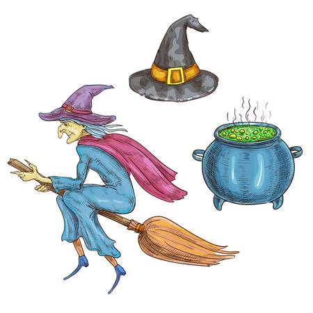 hag: Witch character with Halloween sorceress elements. Isolated sketch icons of hag with hat flying on broom, boiling cauldron with magic potion. Halloween cards and posters decorations