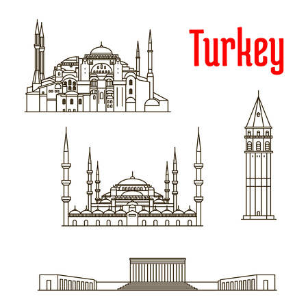souvenir: Historic landmarks, sightseeings, famous showplaces of Turkey. Vector thin line icons of Hagia Sophia, Galata Tower, Sultan Ahmed Mosque, Anitkabir for souvenir decoration elements