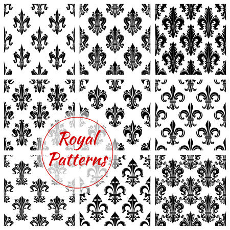 pompous: Royal french lily seamless backgrounds. Wallpaper with black vector pattern icons of heraldic fleur-de-lis on white background