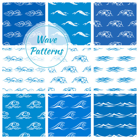 gale: Waves pattern backgrounds. Wallpaper tiles with vector icons of blue and white ocean and sea waves. Tide, storm, wind, foamy wave elements