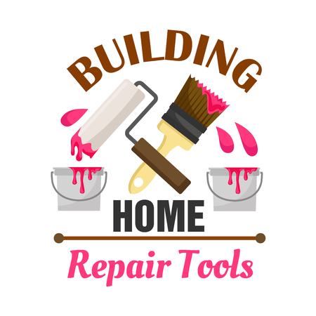 roller brush: Home building and repair work tools icon emblem. Vector icon of paint bucket, roller, brush. Template for home construction agency signboard, repair service label Illustration