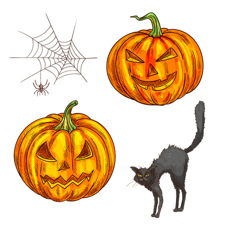 Halloween scary smiling pumpkin lantern. Isolated vector color sketch icons of black witch cat, spider web for halloween greeting and invitation cards, posters design