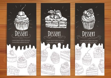 Bäckerei Desserts und Süßigkeiten Poster. Kleiner Kuchen mit Beeren, Kuchen mit Chery, Schokolade Muffin Vektor-Icons. Vektor-Banner für Süßwaren, Gebäck, Patisserie, Café Faltblatt, Konditorei Schild, Menü
