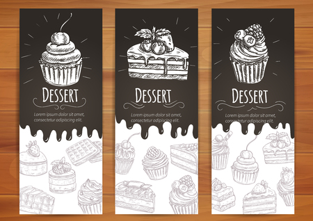 Bakery desserts and sweets posters. Cupcake with berries, cake with chery, chocolate muffin vector icons. Vector banners for confectionery, pastry, patisserie, cafe leaflet, pastry shop signboard, menu Ilustração