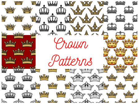regal: Crowns seamless patterns. Backgrounds with vector icons of golden crown. Royal, artistic, heraldic, imperial, vintage, retro, monarch regal symbols