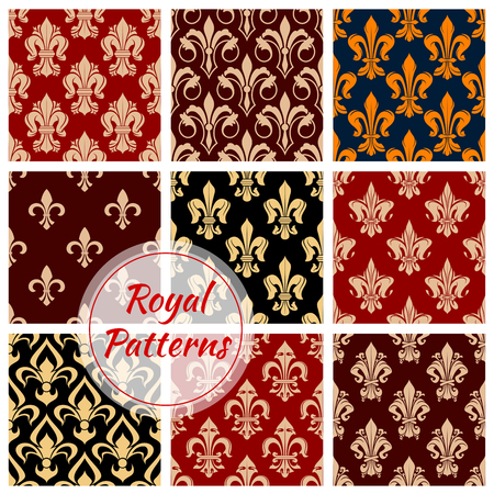 pompous: Royal floral decorative pattern backgrounds. Luxurious imperial ornaments and classic vintage decoration interior wallpapers