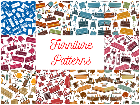 furnish: Furniture room interior elements seamless backgrounds. Wallpaper with vector pattern icons of retro and classic home accessories sofa, chair, armchair, lamp, bookshelf, vase, locker, flower, lamp, wardrobe, picture
