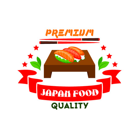 eatery: Japanese cuisine icon. Sushi set, salmon fish, wasabi, chopsticks, red ribbon, stars elements. Template label for restaurant, eatery menu card. Japan food premium quality restaurant label, advertising sticker, door signboard, poster, leaflet, flyer