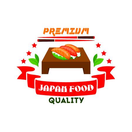 Japanese cuisine icon. Sushi set, salmon fish, wasabi, chopsticks, red ribbon, stars elements. Template label for restaurant, eatery menu card. Japan food premium quality restaurant label, advertising sticker, door signboard, poster, leaflet, flyer
