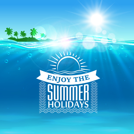 hotel resort: Summer holiday. Background with ocean, tropical palm island, shining sun, water waves elements. Vector placard for travel advertising agency, flyer, greeting card, hotel, resort poster