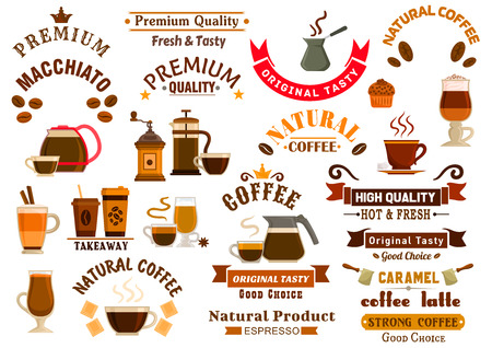 cezve: Coffee and desserts icons for cafe signboards. Coffee pitcher, coffee maker, mill, cezve, kettle, french press, chocolate, muffin, biscuit, cake, coffee beans, stars, ribbons. Template for cafeteria menu fast food poster delivery placard
