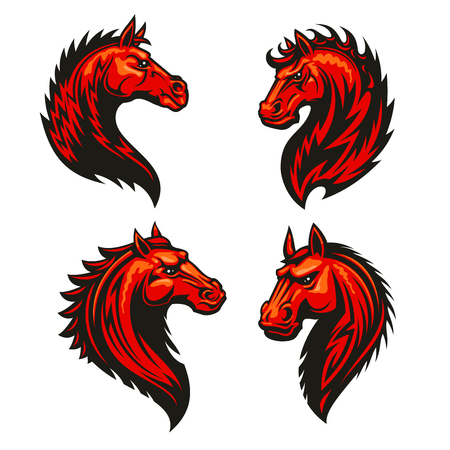 furious: Fire horse head with thorny prickly mane. Stylized heraldic icons of furious flaming stallion. emblem symbol for sport club, team badge, label, tattoo