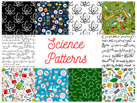 gene: Science backgrounds with patterns. Seamless wallpaper with icons of formula, microscope, telescope, atom, dna, chemicals, substance, gene, molecule, globe, proton magnet calculator lamp Mathematics physics chemistry symbols