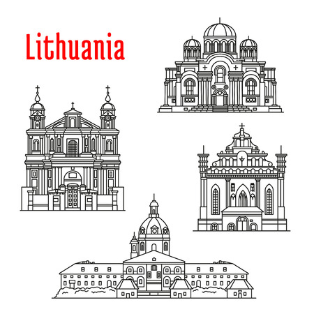 souvenir: Historic architecture landmarks, sightseeings, famous showplaces of Lithuania. Vector thin line icons of Kaunas Cathedral Basilica, Church of St. Michael Archangel, St. Francis and St. Bernard, St. Peter and St. Paul for souvenir decoration elements