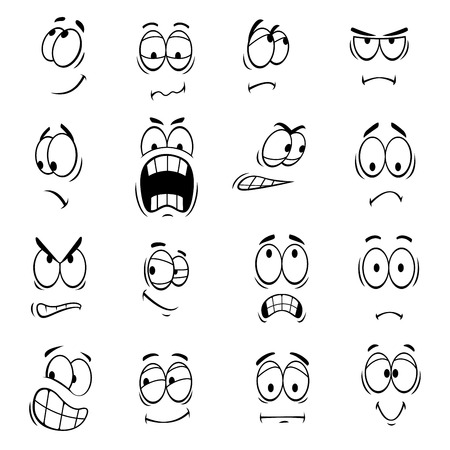 Human cartoon eyes with face expressions and emotions. Cute smiles icons for emoticons. Vector emoji elements smiling, happy, surprised, sad, angry, mad, stupid, crying, shocked, comic, upset silly scared Ilustração
