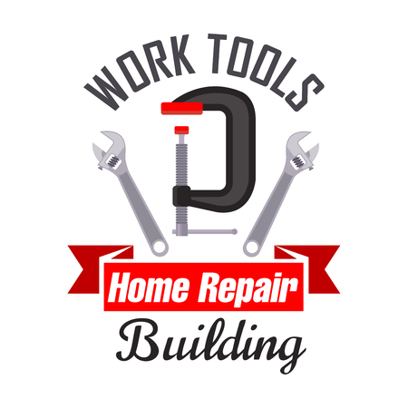 vise: Home building and repair work tools icon emblem. Vector icon of spanner, adjustable wrench, metal vise. Template for building agency signboard, repair service label Illustration