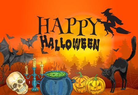 magic cauldron: Bloody red orange background with halloween characters silhouette of whitch flying on broom, black cat and spooky smiling pumpkins, scary skull and magic cauldron with poisonous potion. Happy Halloween decoration poster template