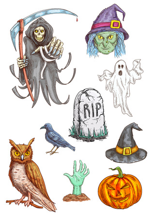 grave stone: Isolated vector pumpkin, witch hat, spooky ghost, death reaper, zombie hand, RIP grave stone, black crow. Halloween Party invitation card and poster sketched elements, icons and traditional characters Illustration