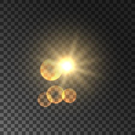 bokeh background: Golden sun light with lens flare effect. Glowing magic light flash. Glittering star bokeh. Sunshine on transparent background Illustration