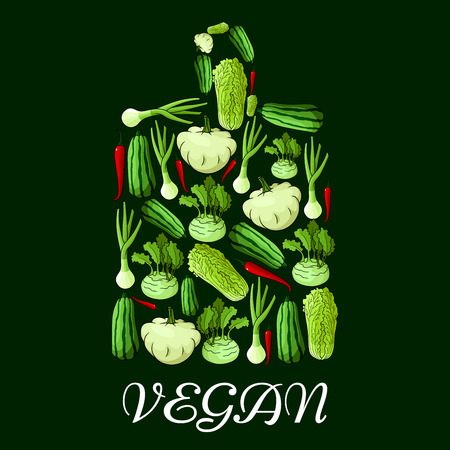 napa: Vegan symbol. Cutting board symbol with vector icons of vegetables cabbage, onion, kohlrabi, pepper, zucchini, celery