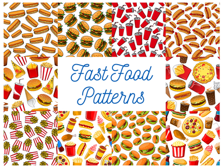 Fast food seamless pattern backgrounds. Wallpaper with vector icons snacks. sweets, drinks. Junk food elements cheeseburger, hot dog, pizza, french fries, hamburger, coffee, soda, cake ice cream