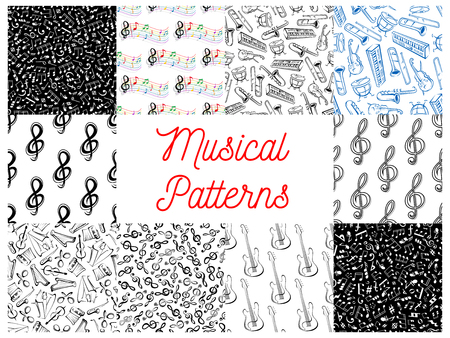 harmonic: Musical notes and instruments pattern backgrounds. Seamless wallpapers with vector doodle sketch music icons of treble clef, stave, piano, saxophone, harp, drums, maracas, guitar, violin, trumpet, guitar, harmonic accordion Illustration