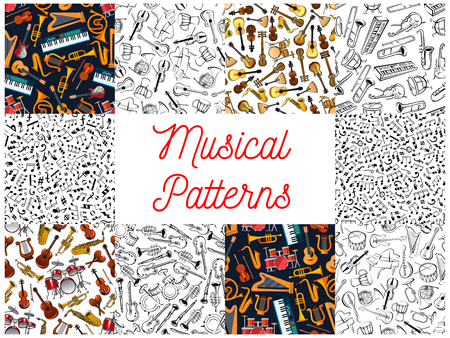harmonic: Musical instruments and notes pattern backgrounds. Seamless wallpapers with vector doodle sketch music icons of treble clef, stave, piano, saxophone, harp, drums, guitar, balalaika, accordion, violin, trumpet, guitar harmonic