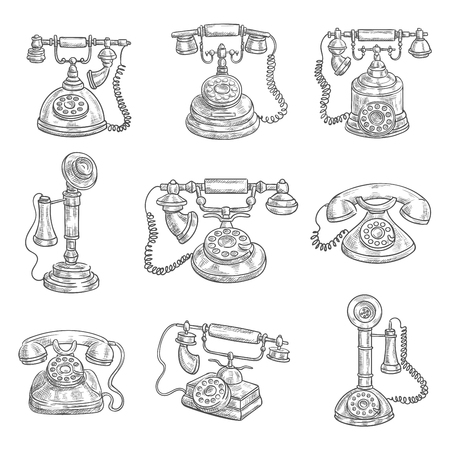 dialer: Old vintage retro phones with receivers, dials, wires. Sketch icons on color background. Vector pencil sketch