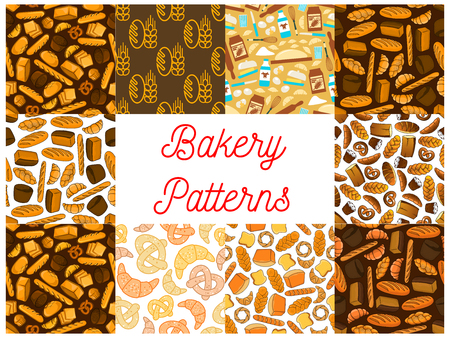 bagel: Bakery and baking seamless backgrounds. Wallpapers with vector icons of bread, croissant, bread, baguette, muffin, bun, loaf, pretzel, bagel, pie, flour dough cake cupcake milk whisk milk bottle