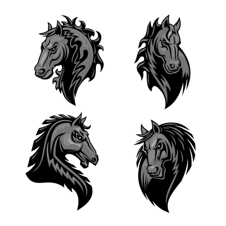 raging: Furious powerful horse head emblem with thorny prickly mane. Stylized heraldic icons of raging stallion.