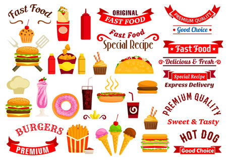 mustard: Fast food emblems, advertising express delivery ribbons. Vector icons of cheeseburger, sandwich, hot dog, pizza, french fries, hamburger, tacos, coffee, soda, muffin, ice cream, chef toque milkshake ketchup mustard chicken nuggets Illustration