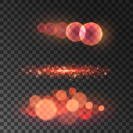 blur effect: Golden red bokeh light with lens flare effect. Glowing glitter blur. Bokeh lights on transparent background Illustration