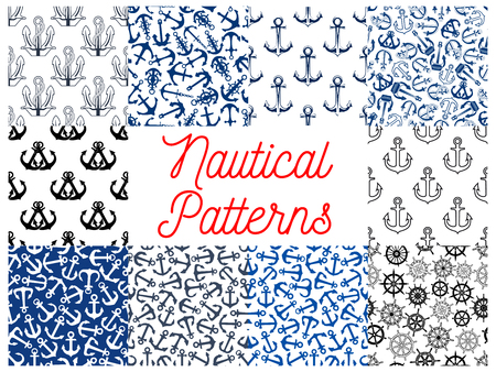 ship steering wheel: Nautical anchor and steering wheel patterns. Wallpaper with vector icons and symbols of anchor on chain, ship steering wheel