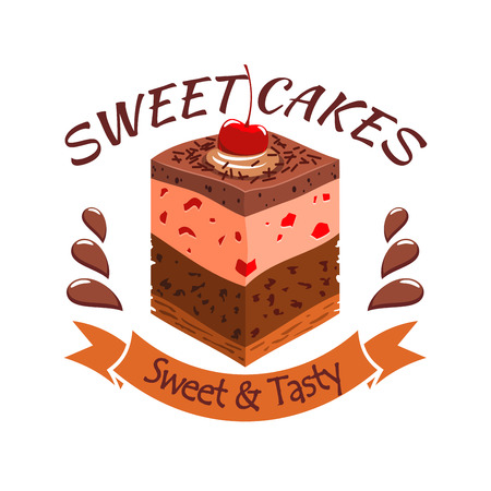 souffle: Sweet cake with berries. Bakery shop emblem. Vector icon of sweet cupcake with chocolate and souffle layers and cherry topping. Template for cafe menu card, cafeteria signboard, patisserie poster, bakery label