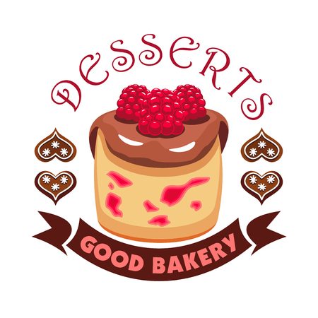 patisserie: Dessert cake with berries. Bakery shop emblem. Vector icon of sweet cupcake with chocolate topping and raspberries. Template for cafe menu card, cafeteria signboard, patisserie poster, bakery label
