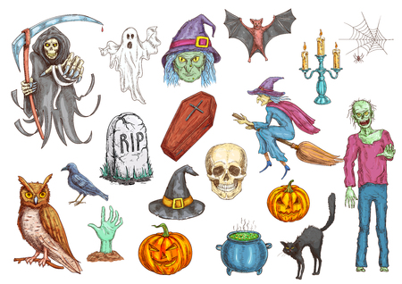 Halloween color sketch icons and elements. Isolated vector pumpkin candle, witch hat, spooky ghost, dead man, zombie hand, coffin on graveyard tomb, skull, midnight owl, spider web, magic cauldron Illustration